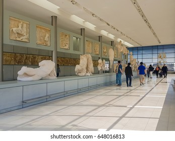 Athens, Greece 2 April 2017. People enjoying their visit at the museum of Acropolis in Athens.