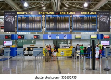 ATHENS, GREECE -22 JULY 2015- The Athens International Airport Eleftherios Venizelos (ATH). Greece is a major tourist destination in Europe.