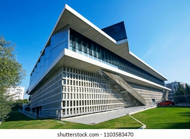 ATHENS GREECE - 2ND MAY 2016; Facade of the 'Acropolis Museum' in Athens against blue skies, architect Bernard Tschumi