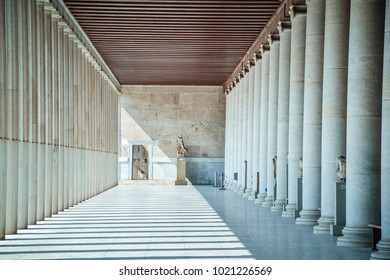 Athens, Greece - 3 August 2015: Stoa of Attalos in ancient agora of Athens