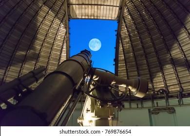 Athens, Greece 5 November 2016. Huge telescope against the sky at Penteli observatory.