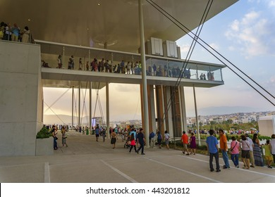 ATHENS, GREECE - 6 26 2016: The Stavros Niarchos Foundation is an international philanthropic organization which makes grants in the areas of arts culture education health medicine and social welfare.