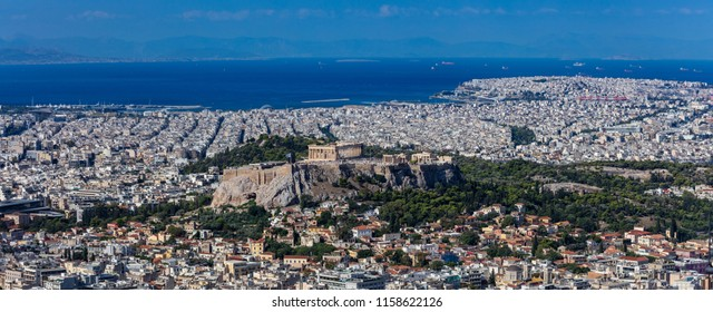 Athens, Greece. Athens Acropolis and city aerial view from Lycabettus hill