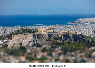 Athens, Greece. Athens Acropolis and city aerial view from Lycabettus hill, tilt-shift effect