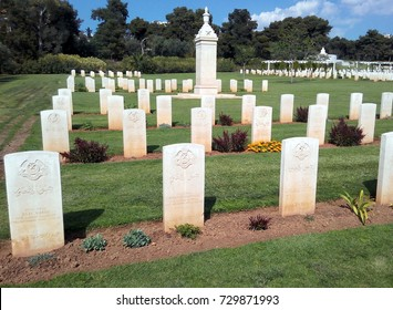 ATHENS, GREECE - APRIL 13, 2017:  Athens Memorial and Phaleron War Cemetery for Commonwealth serviceman - headstones of soldiers from 10th Baloch Regiment.