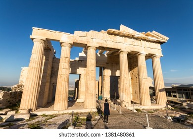 ATHENS, GREECE - April 14, 2019: The Propylaea, the monumental gateway that serves as the entrance to the Acropolis in Athens