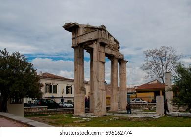 ATHENS, GREECE - APRIL 18, 2011: Ruins of the Roman Agora (Romaiki Agora) & the Tower of the Winds, Plaka, Athens, Greece