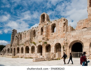 ATHENS, GREECE - APRIL 18, 2011: The Odeon of Athens or Odeon of Pericles in Athens, built at the south-eastern foot of the Acropolis in Athens, Greece