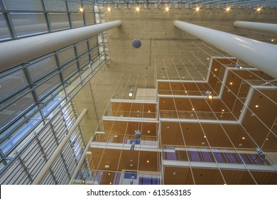ATHENS - GREECE, APRIL 2017: Interior of the The Stavros Niarchos Foundation. It is is an international philanthropic organization which makes grants in the areas of arts culture education health