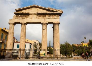 ATHENS, GREECE - APRIL, 2018: Gate of Athena Archegetis located at the Athens Roman Agora