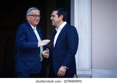 Athens, Greece April 26,2018:Greek Prime Minister Al. Tsipras (R) welcomes European Commission President Jean-Claude Juncker ,at Maximos Mansion. Juncker is in Athens for meetings with Greek officials