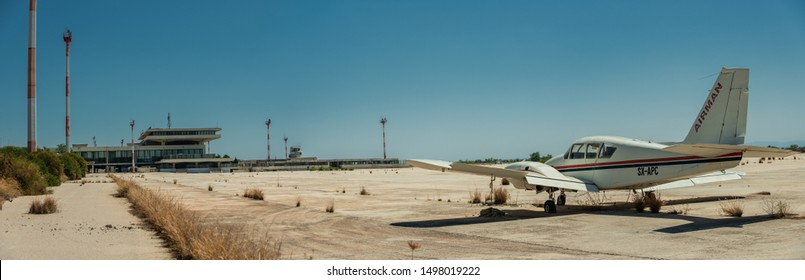 ATHENS, GREECE -AUG 8, 2019- Impressions of the old Ellinikon Athens airport , abandoned in 2001 after the new Athens International Airport Eleftherios Venizelos (ATH) opened for the Olympics.