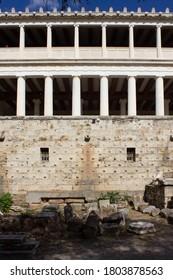 ATHENS, GREECE - AUGUST 13 2016: Stoa of Attalos buinding facade in Athens Agora, Greece