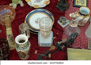 ATHENS, GREECE - AUGUST 14, 2016: Phrenological bust with head areas assigned to character traits and brain functions. Phrenology was popular in the 19th century and today is considered pseudoscience.