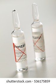 ATHENS, GREECE â?? AUGUST 19, 2008: Fentanyl ampoules on white background