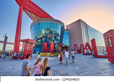 ATHENS - GREECE, AUGUST 2015: Exterior view of the Mall Athens Shopping Center, located in Marousi Area in Athens City. Urban photography in a typical day in Athens, Attica - Greece