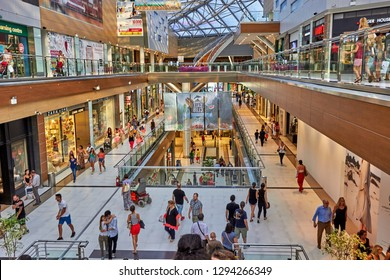ATHENS - GREECE, AUGUST 2015: Interior view of the Mall Athens Shopping Center, located in Marousi Area in Athens City. Urban photography in a typical day in Athens, Attica - Greece