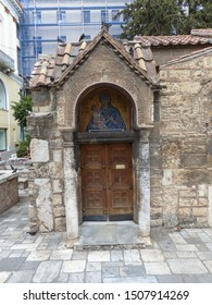 Athens, Greece / Greece - August 2019: Byzantine church in Athens