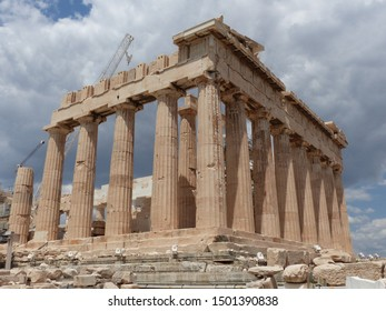 Athens, Greece / Greece - August 2019:  Parts of the Acropolis temple in Athens