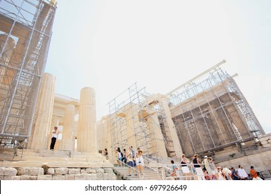 ATHENS, GREECE - AUGUST 21, 2015: Visiting Acropolis in Athens.