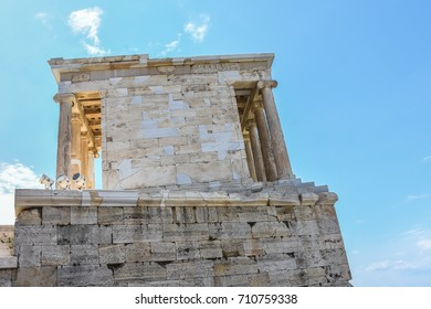 ATHENS, GREECE – August 30 2017: The Acropolis of Athens. The Acropolis is located on a flat-topped rock that rises 150 m  above sea level in the city of Athens, with a surface area of about 3 ha.