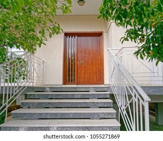 Athens Greece, contemporary house entrance wooden door