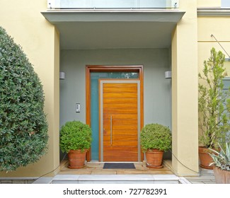 Athens Greece, contemporary house entrance with flowerpots