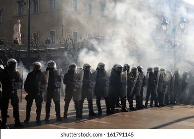ATHENS, GREECE -DEC. 12, 2008: Greek riot police officers protect the Parliament from demonstrators in Athens, Greece, Dec. 12, 2008.