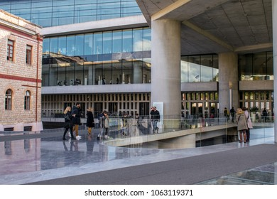 ATHENS, GREECE: DECEMBER 09, 2017: The entrance of the Museum of Acropolis