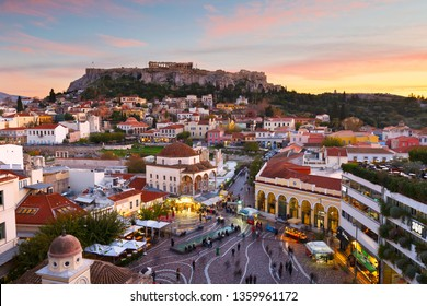 Athens, Greece - December 1, 2016: View of Acropolis and the old town of Athens, Greece.