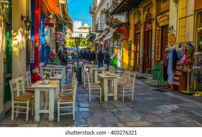 ATHENS, GREECE, DECEMBER 10, 2015: View of Adrianu shopping street - the most important tourist street in the historical district of athens called plaka
