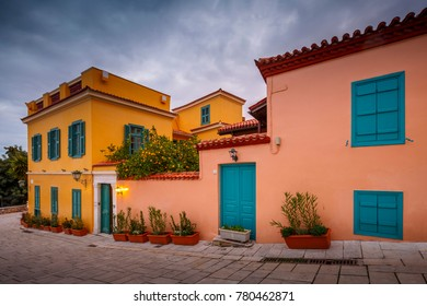 Athens, Greece - December 20, 2017: Architecture in Plaka, the old town of Athens, Greece.
