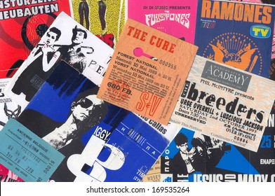 ATHENS, GREECE - DECEMBER 22, 2013: Vintage concert ticket stubs punk and alternative rock music memorabilia from the 80s and 90s.