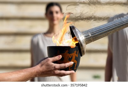 Athens, Greece - December 30, 2015: The Lillehammer 2016 Winter Youth Olympic Games flame left the Panathinaikos Stadium on Tuesday, on its journey to Norway.