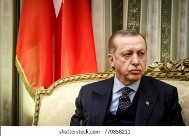 Athens, Greece - December 7, 2017: Turkey's President Recep Tayyip Erdogan listens to Greece's President Prokopis Pavlopoulos, prior to their meeting in Athens, Greece