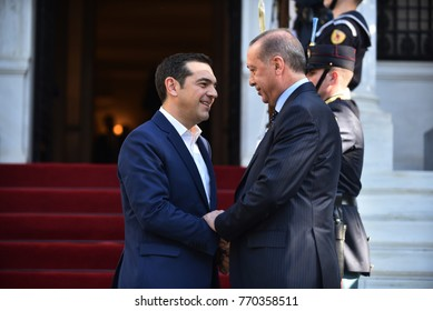 Athens, Greece - December 7, 2017: Greece's Prime Minister Alexis Tsipras (L) welcomes the President of Turkey, Recep Tayyip Erdogan (R) at the Maximos Mansion in Athens, Greece