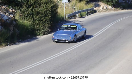 ATHENS, GREECE, DECEMBER 8, 2018. Classic car Lotus Elan 2+2, made in England in 1973, during a classic rally in the area of Athens, Greece