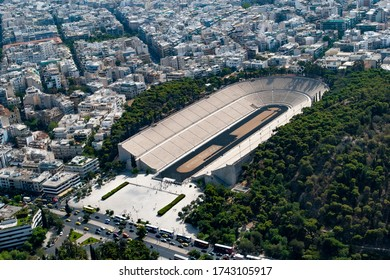 Athens, Greece, Europe, 09.26.2007. Aerial photo of the Panathinaiko stadium, dating back to 330 BC. In 140 AD it was enlarged by Herodes Atticus. Rebuilt in 1895 for the first modern Olympiad.
