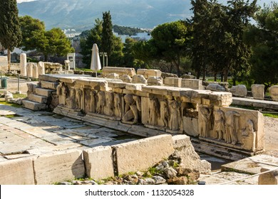 Athens, Greece, Europe - January 19, 2017: The Theatre of Dionysus Eleuthereus  located in the southern slope of the Acropolis of Athens, Greece.