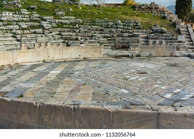 Athens, Greece, Europe - January 19, 2017: The Theatre of Dionysus Eleuthereus, located on the southwest slope of the Acropolis of Athens, Greece.