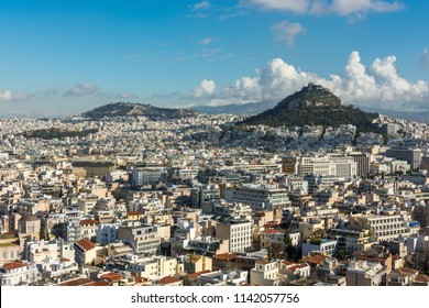 Athens, Greece, Europe - January 19, 2017: Athens view from the Acropolis