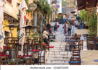 Athens, Greece, Europe - January 20, 2017:  Plaka neighbourhood in the city center of Athens, in Greece. Is the most atractive and colorful part of the city.