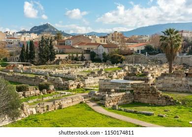 Athens, Greece, Europe - January 20, 2017: Kerameikos, Keramikos or Ceramicus, archeological place in Athens.