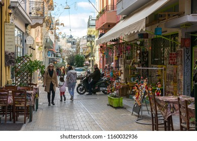 Athens, Greece, Europe - January 20, 2017:  Psiri neighbourhood in the city center of Athens, in Greece. Also called Athens Soho.