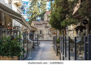 Athens, Greece, Europe - January 22, 2017: Kapnikareas street, near Ermou Street and The Church of Panagia Kapnikarea or just Kapnikarea