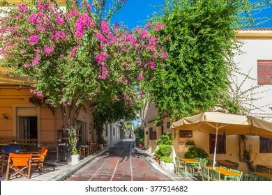 Athens, Greece, famous Plaka neighbourhood near Acropolis