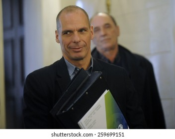 ATHENS, GREECE - FEB 11,2015: Finance Minister Yanis Varoufakis, during the session in the Greek Parliament