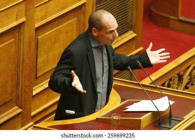 ATHENS, GREECE - FEB 12,2015: Finance Minister Yanis Varoufakis, during his speech in the Greek Parliament