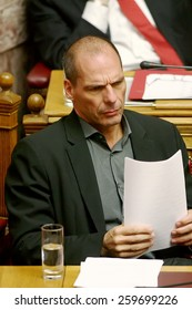 ATHENS, GREECE - FEB 12,2015: Greek Finance minister Yanis Varoufakis during the morning session of Greece's Parliament in Athens