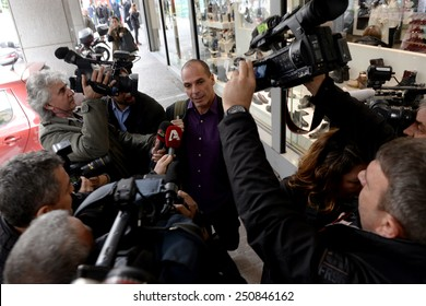 Athens, Greece Feb. 6, 2015. Greek Finance Minister Yanis Varoufakis enters his ministry for a meeting with Deputy Assistant Secretary for Europe at the U.S. Department of the Treasury Daleep Singhon